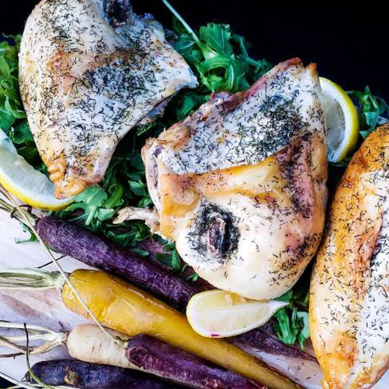 Dill Chicken Breasts With Rainbow Carrots image number 0
