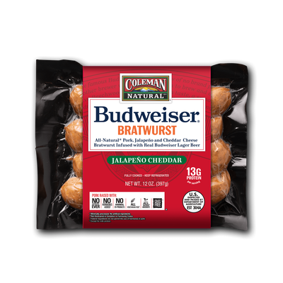 Budweiser® BBQ Jalapeno Cheddar Bratwurst by Coleman Natural Foods