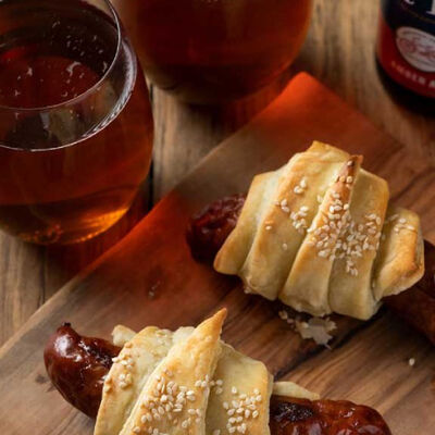 Pastry Wrapped Beer Brats with Dijon Dipping Sauce