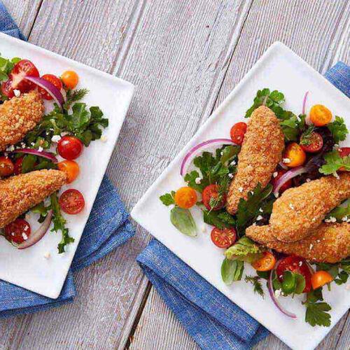 Greek Salad With Gluten-Free Chicken Tenders