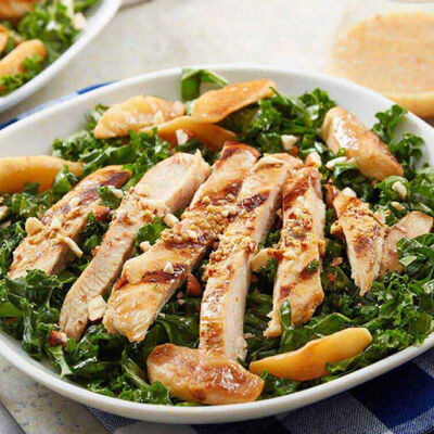Chicken and Apple Kale Salad With Warm Cider Dressing