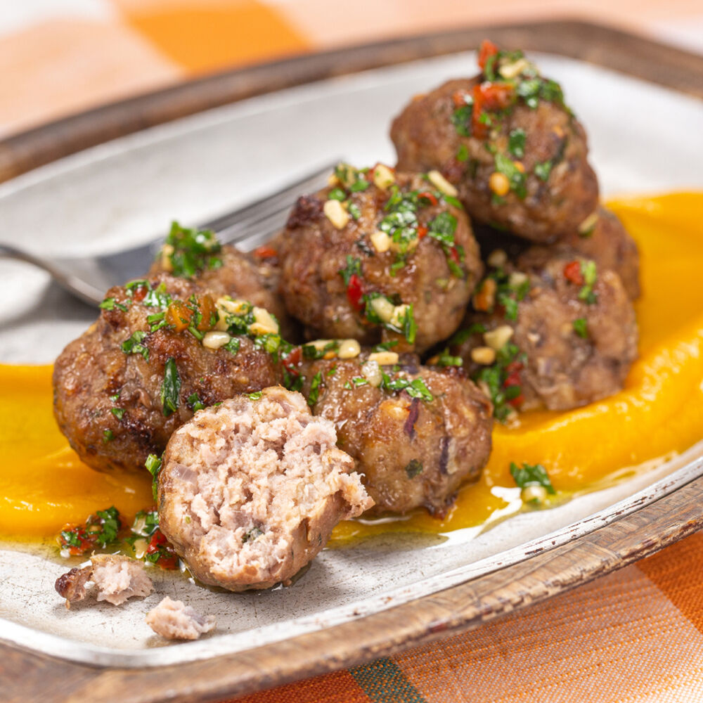Roasted Pork Meatballs with Chimichurri and Butternut Squash Puree image number 0