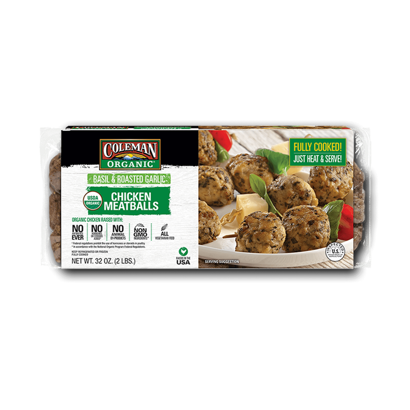 Coleman Organic Basil and Roasted Garlic Chicken Meatballs image number 0