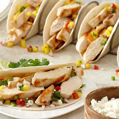 Tropical Fruit Salsa-Topped Grilled Chicken Tacos