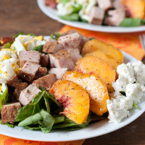 Healthy Cobb Salad with Pork and Peaches