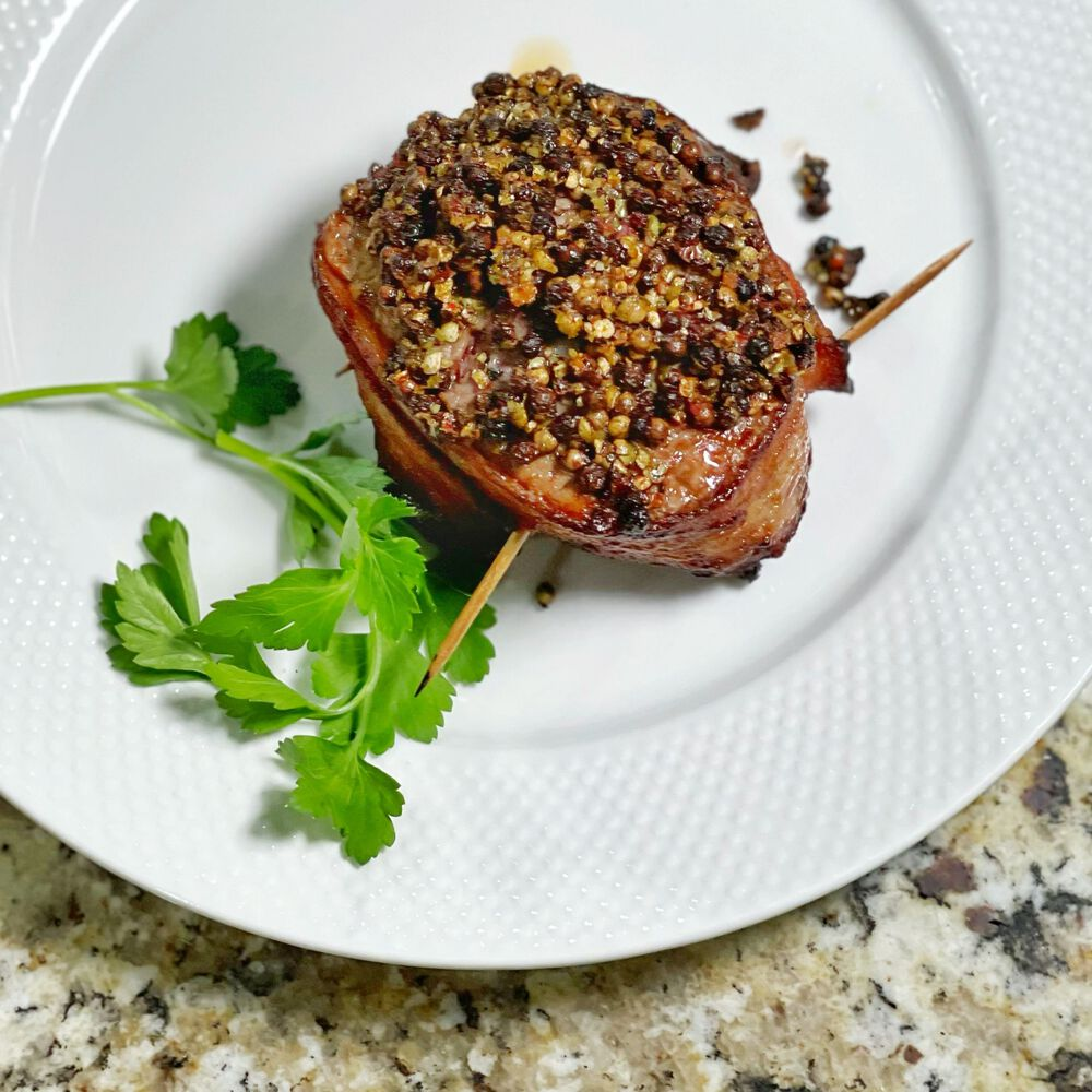 Niman Ranch Applewood-Smoked Bacon-Wrapped Peppercorn-Crusted Angus Beef Tenderloin Filet image number 0