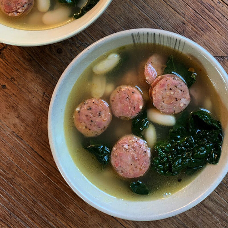 White Bean, Kale and Smoky Andouille Sausage Soup image number 0