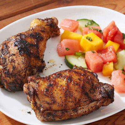 Grilled Chili-Coffee Chicken With Tropical Salad