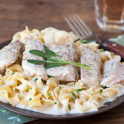 Oven-Baked Creamy Pork Chops and Noodles