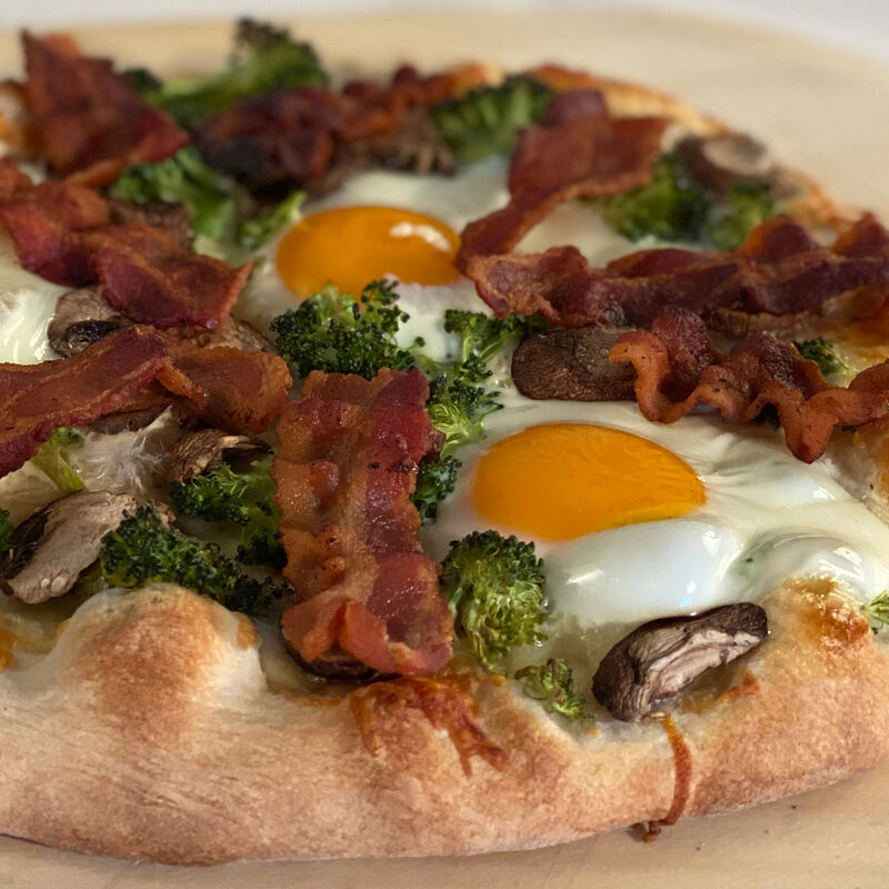 Egg Pizza with Bacon and Broccoli image number 0