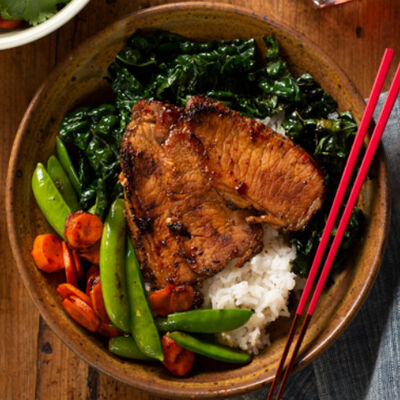 Pork and Rice Bowl, Sweet and Spicy Asian Style