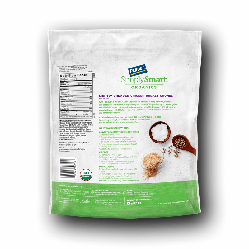 Perdue SimplySmart Organics Lightly Breaded Chicken Chunks image number 2