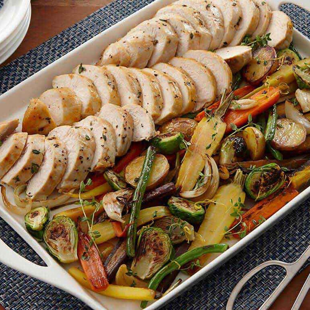 Oven-Roasted Chicken Breasts and Harvest Vegetables image number 0