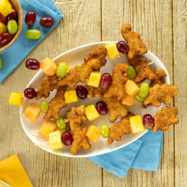 chicken nugget and fruit kebobs