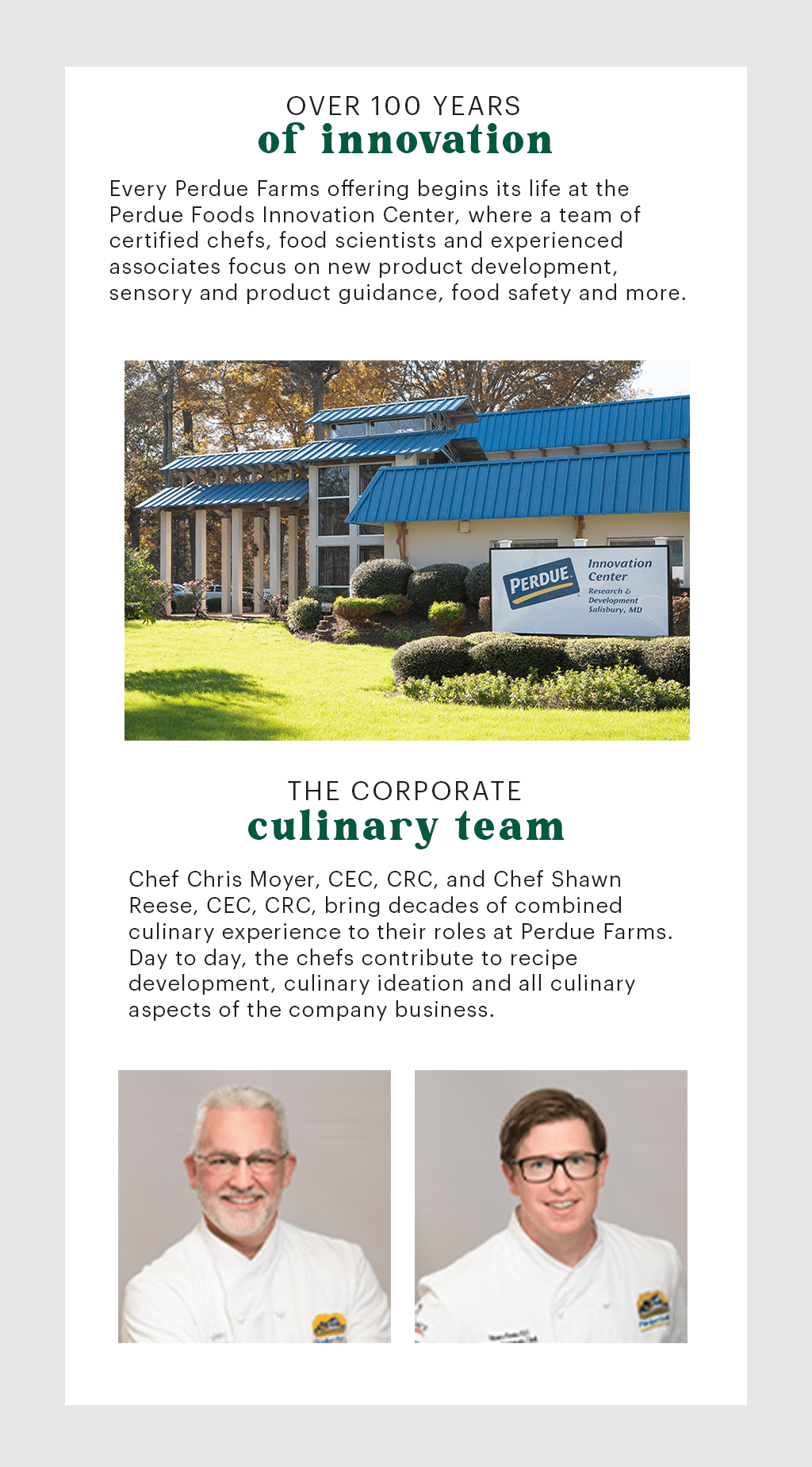 Perdue Innovation Center and Culinary Team