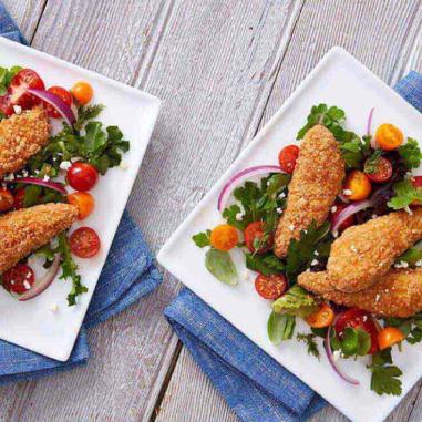 chicken tenders Greek salad