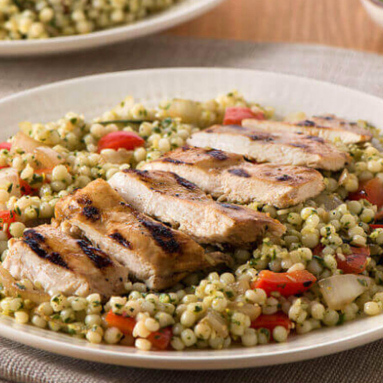 grilled chicken and pesto couscous