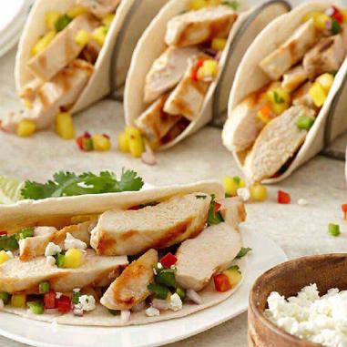 fruit salsa chicken tacos