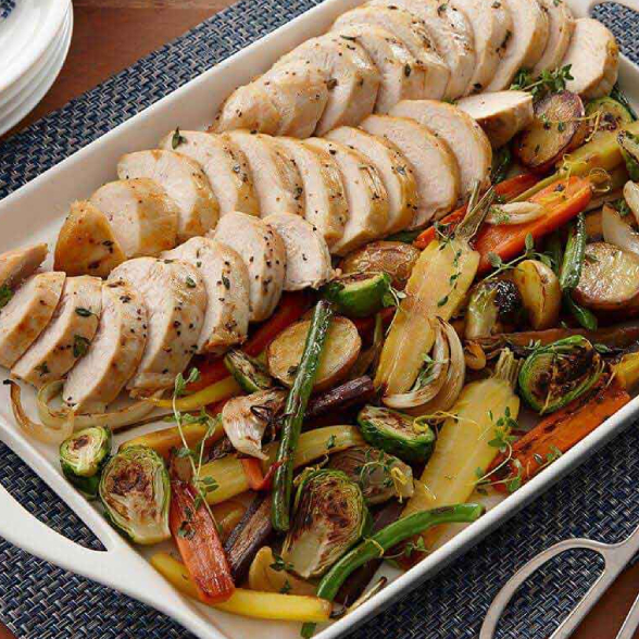 roasted chicken and harvest vegetables