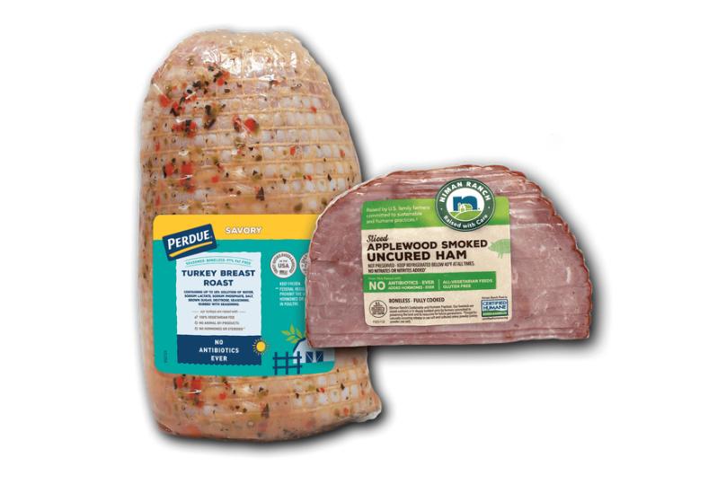 Perdue turkey roast, Niman Ranch ham roast